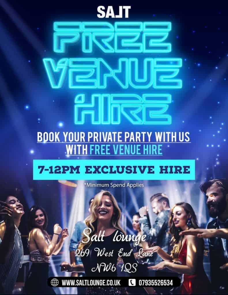 """Free Venue hire over 21""""s"""